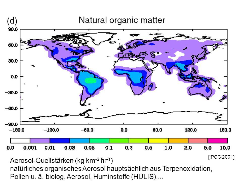 [IPCC 2001] Aerosol-Quellstärken (kg km -2 hr -1 ) natürliches organisches Aerosol hauptsächlich aus Terpenoxidation, Pollen u. ä. biolog. Aerosol, Hu