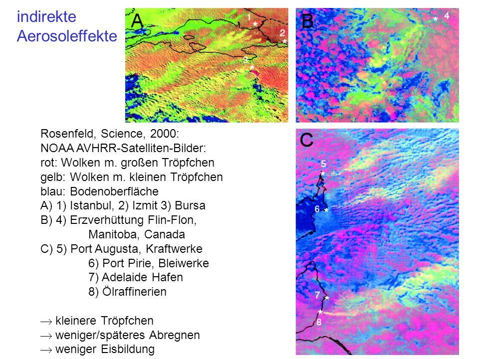 Rosenfeld, Science, 2000: NOAA AVHRR-Satelliten-Bilder: rot: Wolken m. großen Tröpfchen gelb: Wolken m. kleinen Tröpfchen blau: Bodenoberfläche A) 1)