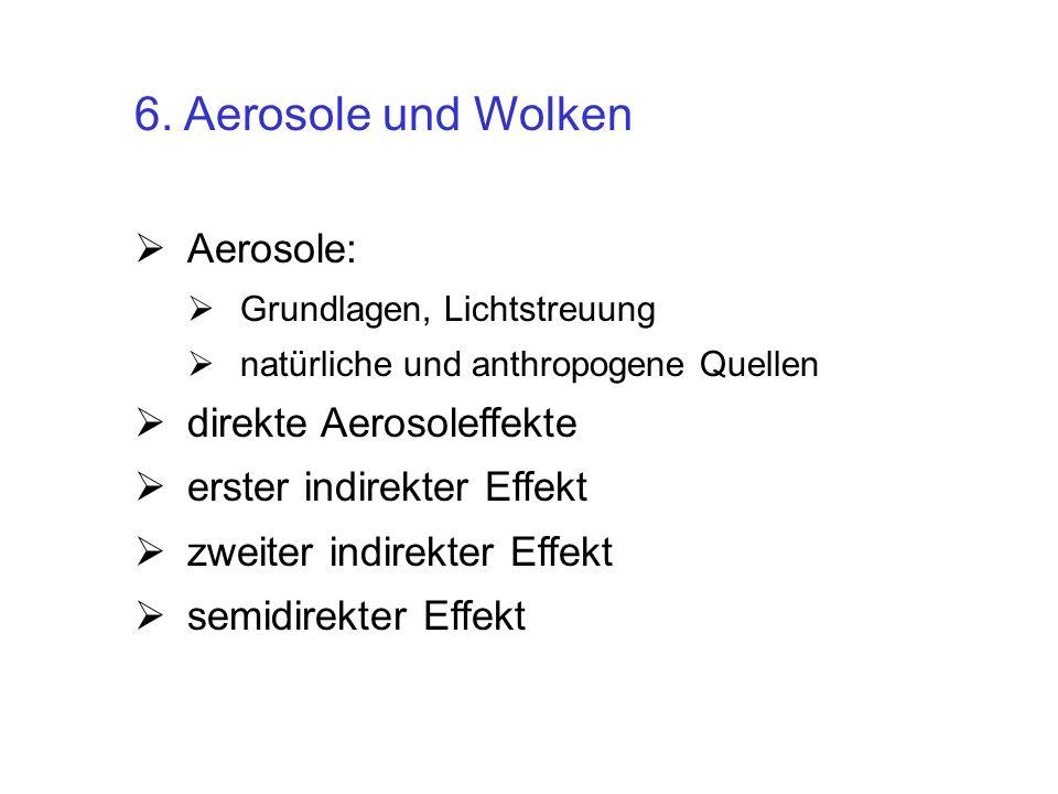 6. Aerosole und Wolken Aerosole: Grundlagen, Lichtstreuung natürliche und anthropogene Quellen direkte Aerosoleffekte erster indirekter Effekt zweiter