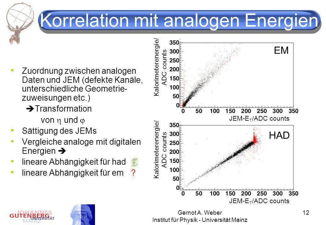 Gernot A. Weber Institut für Physik - Universität Mainz 12 Korrelation mit analogen Energien Zuordnung zwischen analogen Daten und JEM (defekte Kanäle
