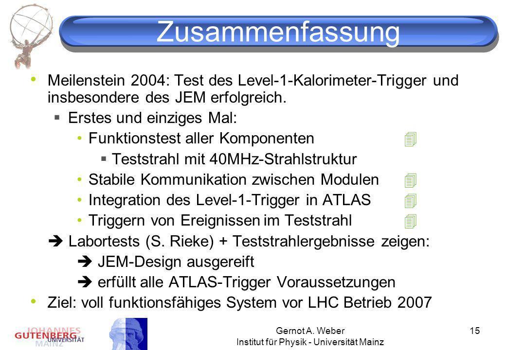 Gernot A. Weber Institut für Physik - Universität Mainz 15 Zusammenfassung Meilenstein 2004: Test des Level-1-Kalorimeter-Trigger und insbesondere des