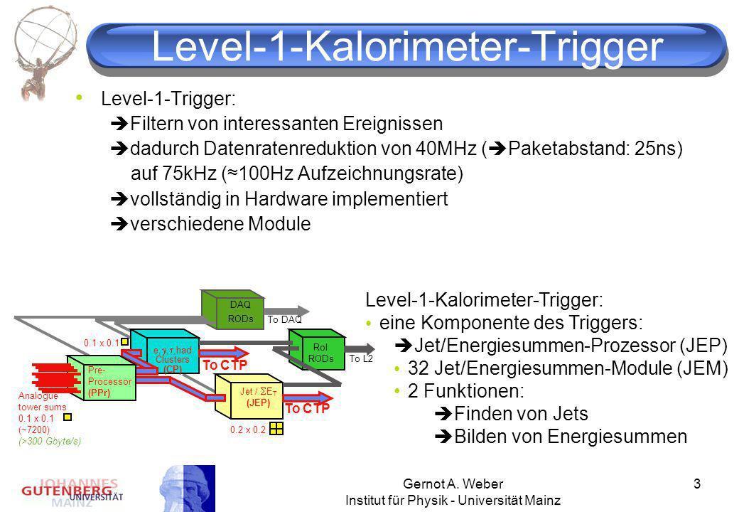 Gernot A. Weber Institut für Physik - Universität Mainz 3 Level-1-Kalorimeter-Trigger Level-1-Trigger: Filtern von interessanten Ereignissen dadurch D