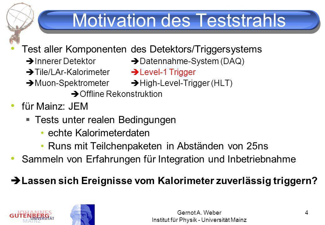 Gernot A. Weber Institut für Physik - Universität Mainz 4 Motivation des Teststrahls Test aller Komponenten des Detektors/Triggersystems Innerer Detek