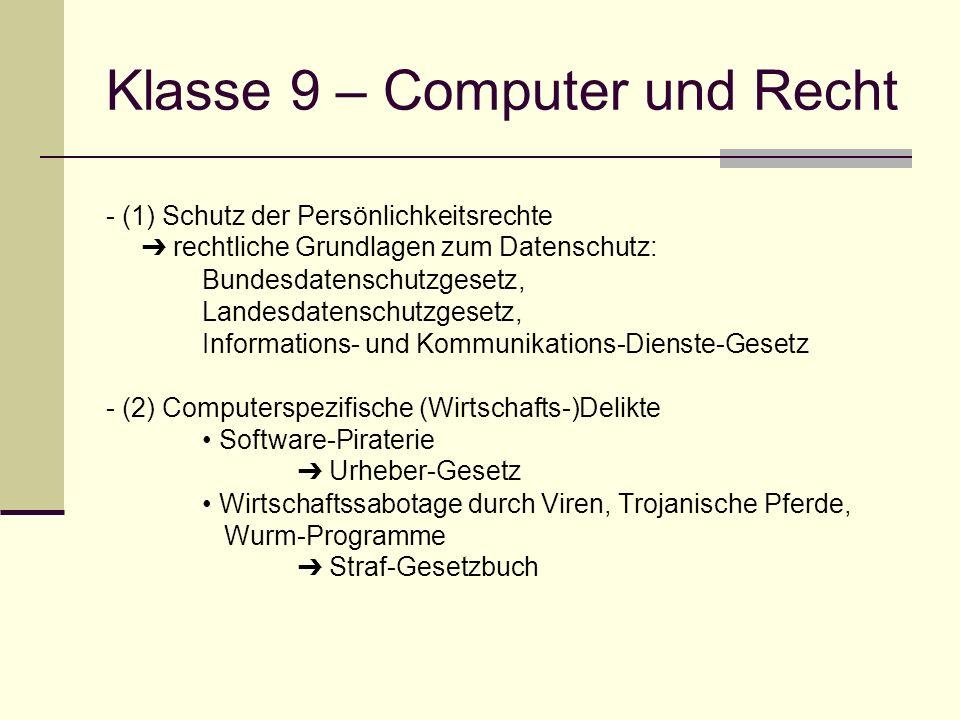 Klasse 9 – Computer und Recht - (1) Schutz der Persönlichkeitsrechte rechtliche Grundlagen zum Datenschutz: Bundesdatenschutzgesetz, Landesdatenschutz