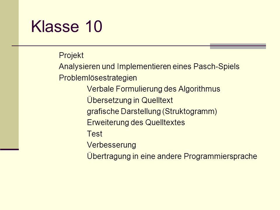 Klasse 10 Projekt Analysieren und Implementieren eines Pasch-Spiels Problemlösestrategien Verbale Formulierung des Algorithmus Übersetzung in Quelltex