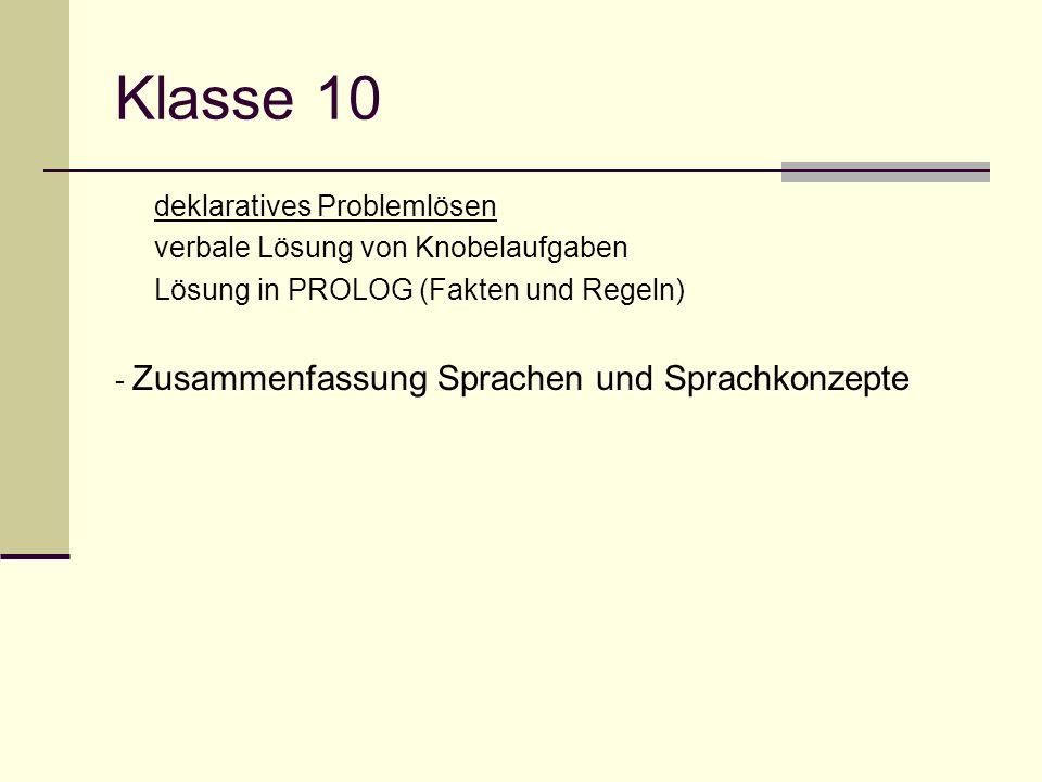 Klasse 10 deklaratives Problemlösen verbale Lösung von Knobelaufgaben Lösung in PROLOG (Fakten und Regeln) - Zusammenfassung Sprachen und Sprachkonzep