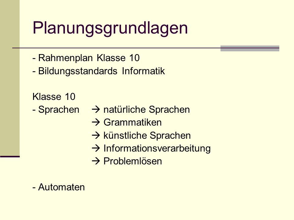 Planungsgrundlagen - Rahmenplan Klasse 10 - Bildungsstandards Informatik Klasse 10 - Sprachen natürliche Sprachen Grammatiken künstliche Sprachen Info
