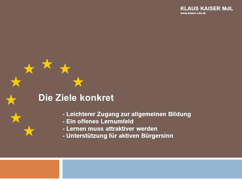 Die Ziele konkret - Leichterer Zugang zur allgemeinen Bildung - Ein offenes Lernumfeld - Lernen muss attraktiver werden - Unterstützung für aktiven Bü