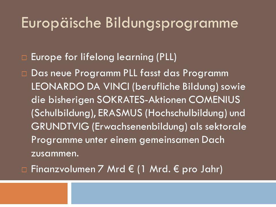 Europäische Bildungsprogramme Europe for lifelong learning (PLL) Das neue Programm PLL fasst das Programm LEONARDO DA VINCI (berufliche Bildung) sowie