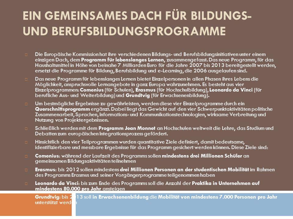EIN GEMEINSAMES DACH FÜR BILDUNGS- UND BERUFSBILDUNGSPROGRAMME Die Europäische Kommission hat ihre verschiedenen Bildungs- und Berufsbildungsinitiativ