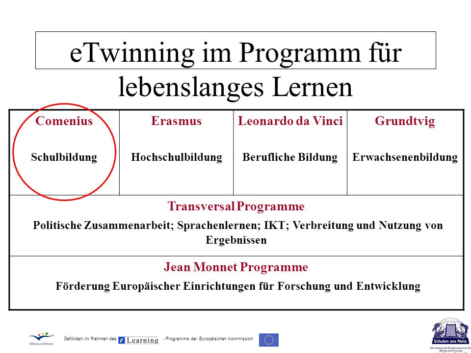 eTwinning im Programm für lebenslanges Lernen Comenius Schulbildung Erasmus Hochschulbildung Leonardo da Vinci Berufliche Bildung Grundtvig Erwachsene