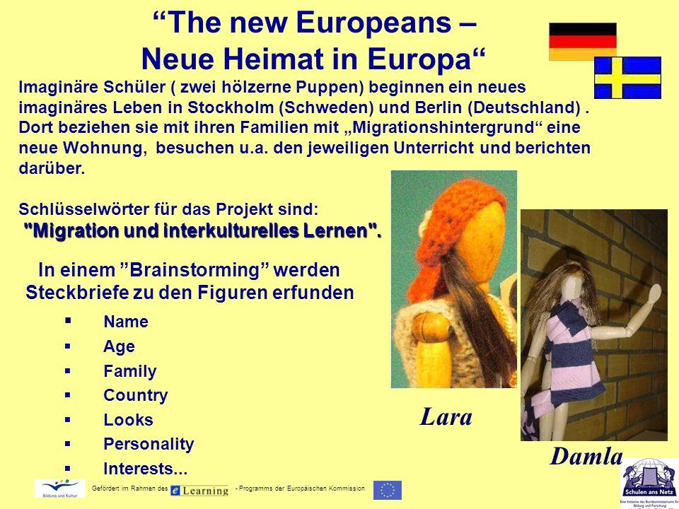 Gefördert im Rahmen des - Programms der Europäischen Kommission In einem Brainstorming werden Steckbriefe zu den Figuren erfunden Name Age Family Coun