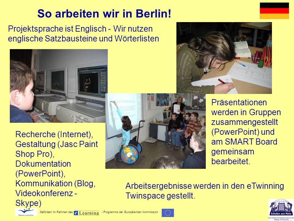 Gefördert im Rahmen des - Programms der Europäischen Kommission So arbeiten wir in Berlin! Projektsprache ist Englisch - Wir nutzen englische Satzbaus