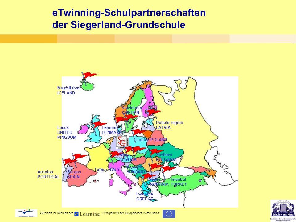 eTwinning-Schulpartnerschaften der Siegerland-Grundschule Wien AUSTRIA Sevlievo BULGARIA Hammel DENMARK Ioannina GREECE Kossuth HUNGARY Mosfellsbær IC