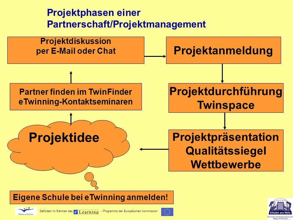 Gefördert im Rahmen des - Programms der Europäischen Kommission Projektphasen einer Partnerschaft/Projektmanagement Projektidee Projektdurchführung Tw