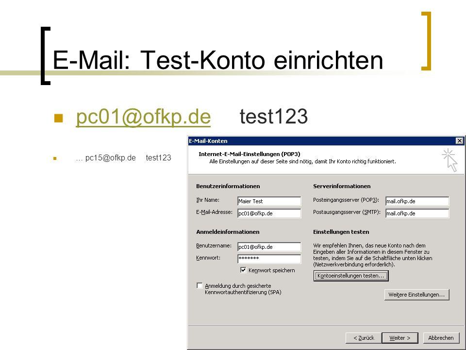 maier.sebastian@vstriftern.de E-Mail: Test-Konto einrichten pc01@ofkp.detest123 pc01@ofkp.de … pc15@ofkp.detest123