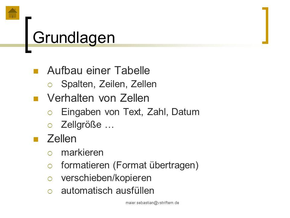 maier.sebastian@vstriftern.de Grundlagen Aufbau einer Tabelle Spalten, Zeilen, Zellen Verhalten von Zellen Eingaben von Text, Zahl, Datum Zellgröße …