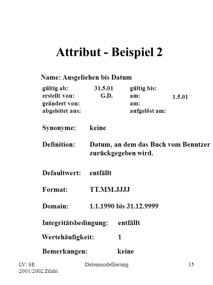 LV: SE 2001/2002 Zilahi Datenmodellierung15 Attribut - Beispiel 2 Name: Ausgeliehen bis Datum gültig bis: am: aufgelöst am: gültig ab: erstellt von: g