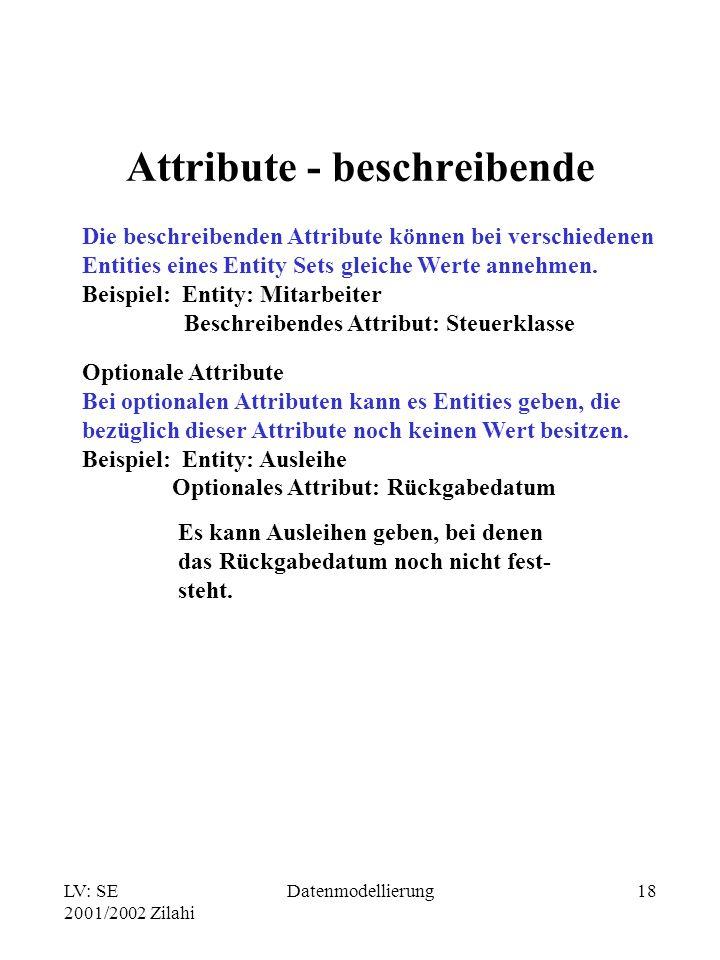 LV: SE 2001/2002 Zilahi Datenmodellierung18 Attribute - beschreibende Die beschreibenden Attribute können bei verschiedenen Entities eines Entity Sets