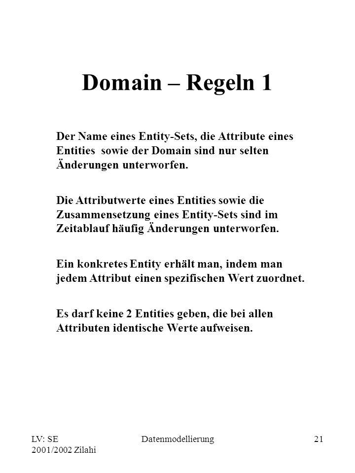 LV: SE 2001/2002 Zilahi Datenmodellierung21 Domain – Regeln 1 Der Name eines Entity-Sets, die Attribute eines Entities sowie der Domain sind nur selte