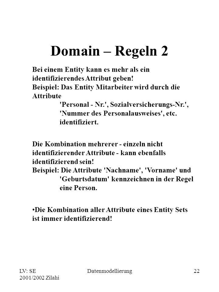 LV: SE 2001/2002 Zilahi Datenmodellierung22 Domain – Regeln 2 Bei einem Entity kann es mehr als ein identifizierendes Attribut geben! Beispiel: Das En