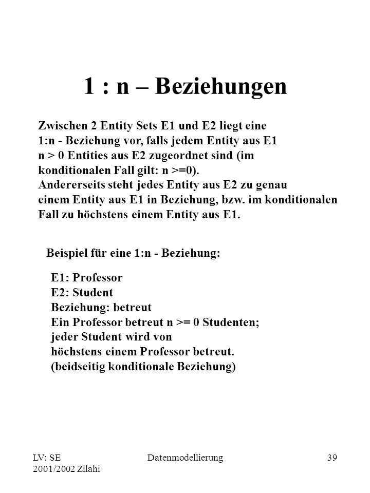 LV: SE 2001/2002 Zilahi Datenmodellierung39 1 : n – Beziehungen Zwischen 2 Entity Sets E1 und E2 liegt eine 1:n - Beziehung vor, falls jedem Entity au
