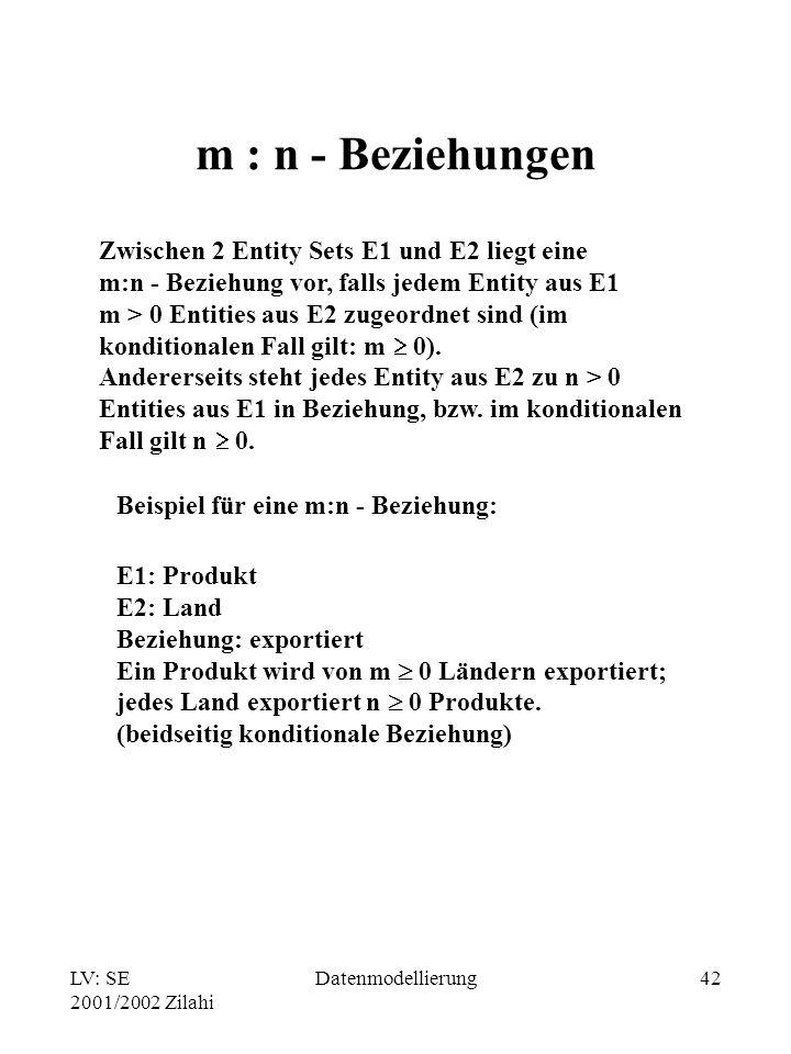LV: SE 2001/2002 Zilahi Datenmodellierung42 m : n - Beziehungen Zwischen 2 Entity Sets E1 und E2 liegt eine m:n - Beziehung vor, falls jedem Entity au