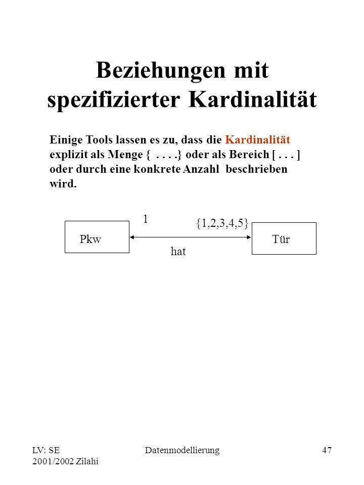 LV: SE 2001/2002 Zilahi Datenmodellierung47 Beziehungen mit spezifizierter Kardinalität Einige Tools lassen es zu, dass die Kardinalität explizit als
