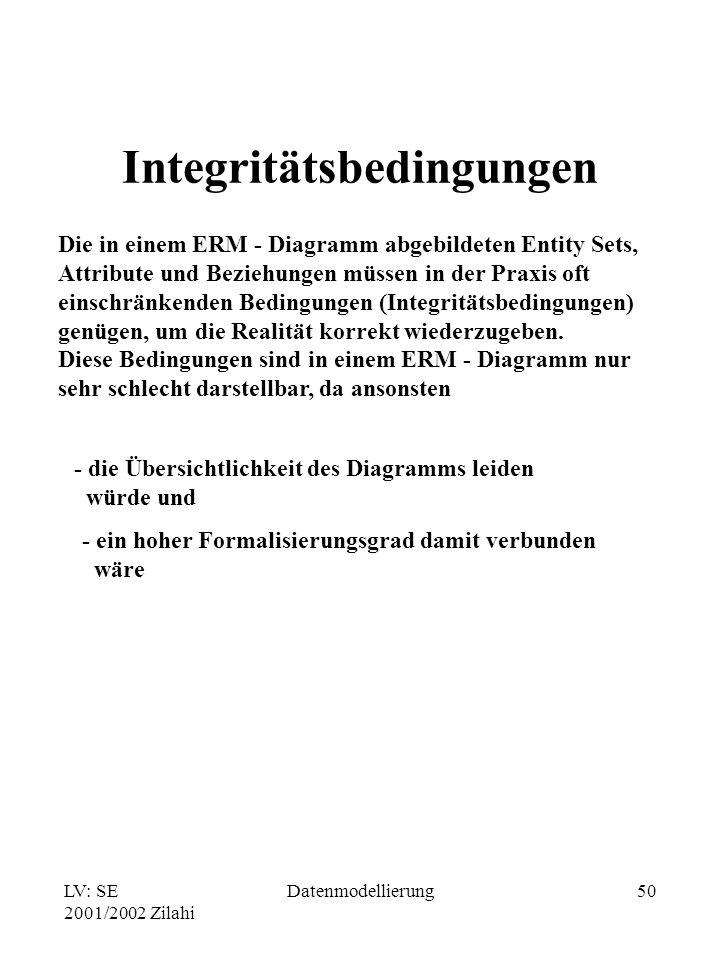 LV: SE 2001/2002 Zilahi Datenmodellierung50 Integritätsbedingungen Die in einem ERM - Diagramm abgebildeten Entity Sets, Attribute und Beziehungen müs