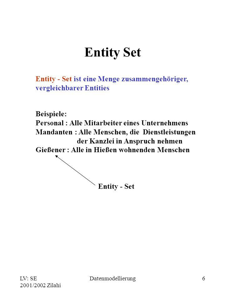LV: SE 2001/2002 Zilahi Datenmodellierung6 Entity Set Entity - Set ist eine Menge zusammengehöriger, vergleichbarer Entities Beispiele: Personal : All