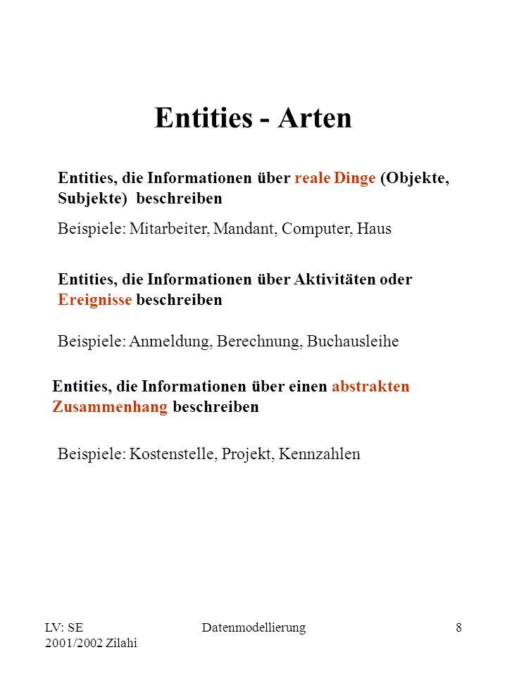 LV: SE 2001/2002 Zilahi Datenmodellierung8 Entities - Arten Entities, die Informationen über reale Dinge (Objekte, Subjekte) beschreiben Beispiele: Mi
