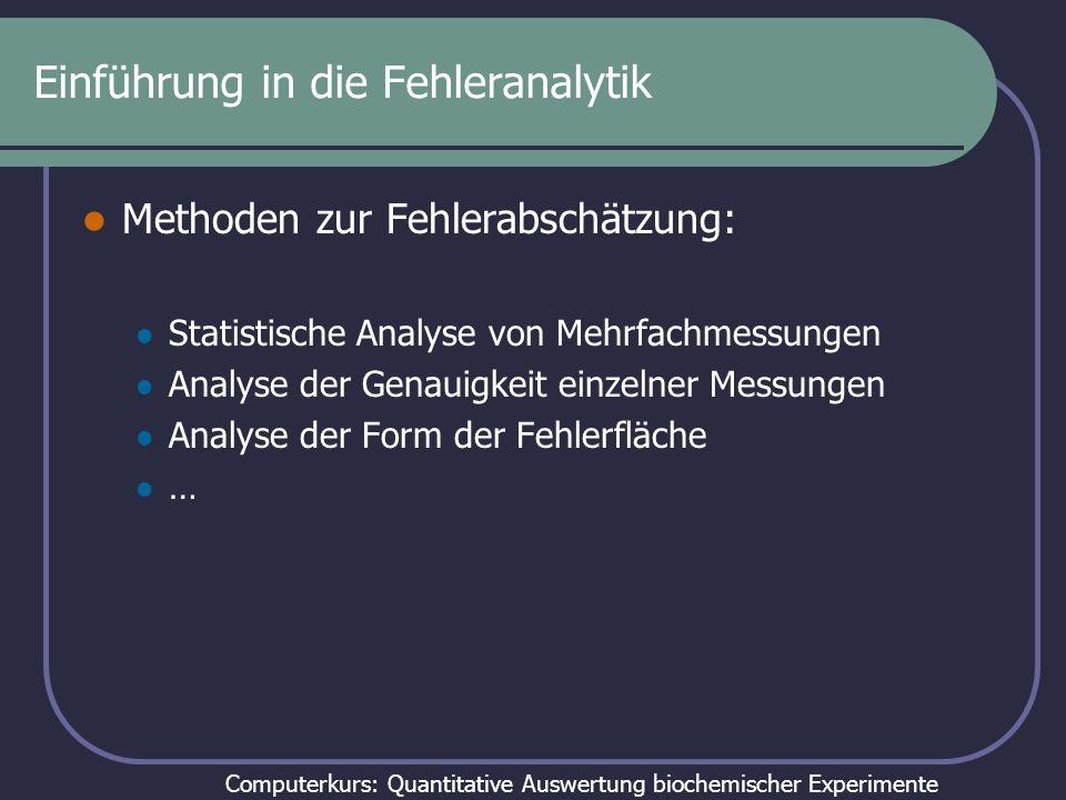 Computerkurs: Quantitative Auswertung biochemischer Experimente Statistische Analyse von Mehrfachmessungen Identische Experimente werden wiederholt (oder ganze experimentelle Serien, wenn man zur Auswertung mehr als einen Datensatz braucht) und dann unabhängig voneinander ausgewertet.