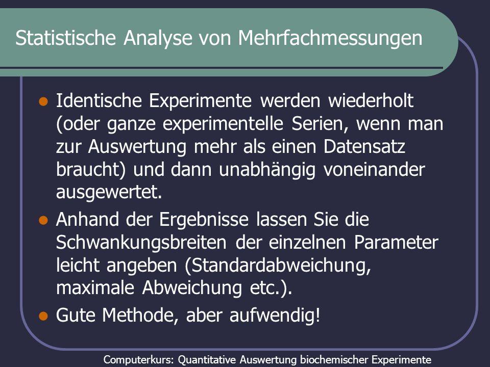 Computerkurs: Quantitative Auswertung biochemischer Experimente Statistische Analyse von Mehrfachmessungen Identische Experimente werden wiederholt (o