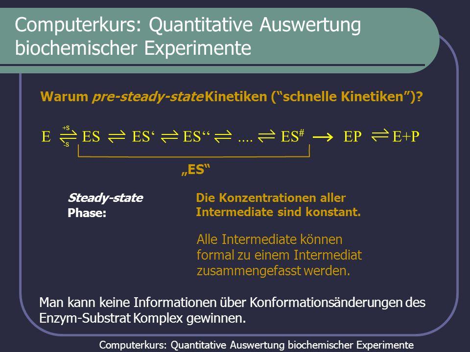 Computerkurs: Quantitative Auswertung biochemischer Experimente Warum pre-steady-state Kinetiken (schnelle Kinetiken)? Steady-state Phase: E ES ES ES.