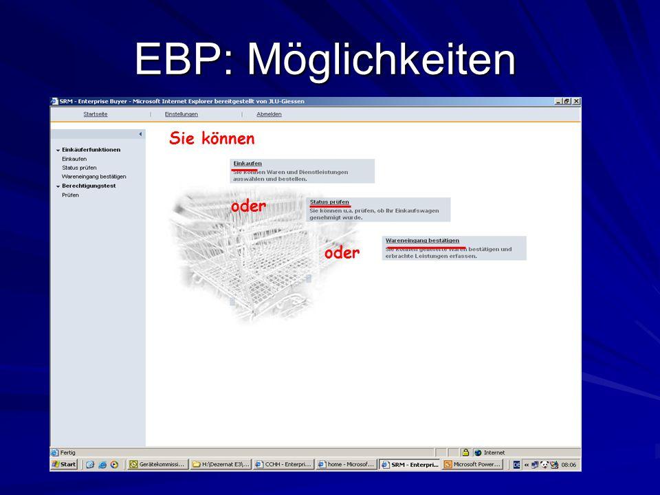 EBP: Möglichkeiten Sie können oder