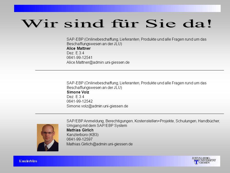11 SAP/EBP Anmeldung, Berechtigungen, Kostenstellen+Projekte, Schulungen, Handbücher, Umgang mit dem SAP/EBP System Mathias Girlich Kanzlerbüro (KB3)