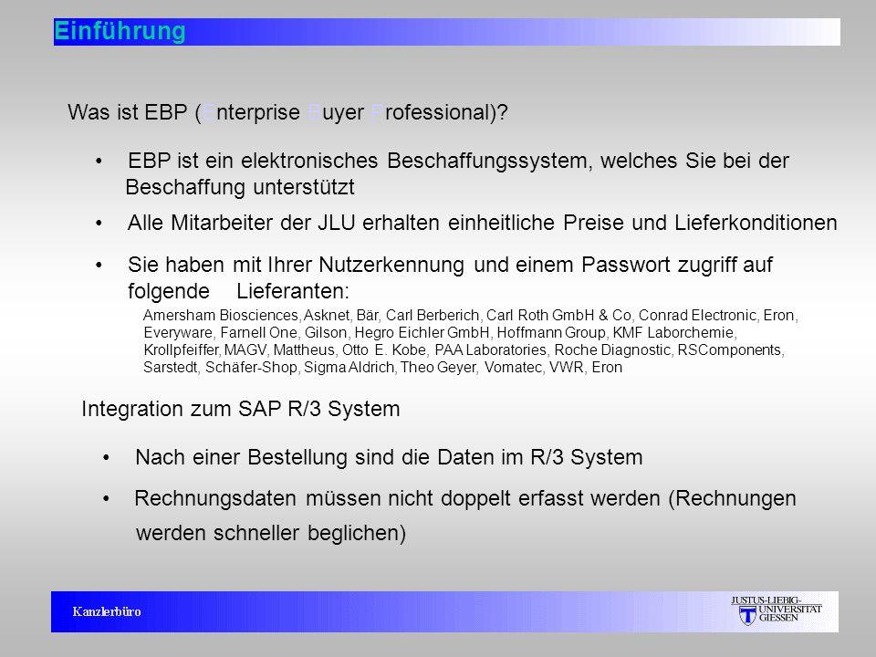 3 Einführung Was ist EBP (Enterprise Buyer Professional)? Integration zum SAP R/3 System Nach einer Bestellung sind die Daten im R/3 System Rechnungsd