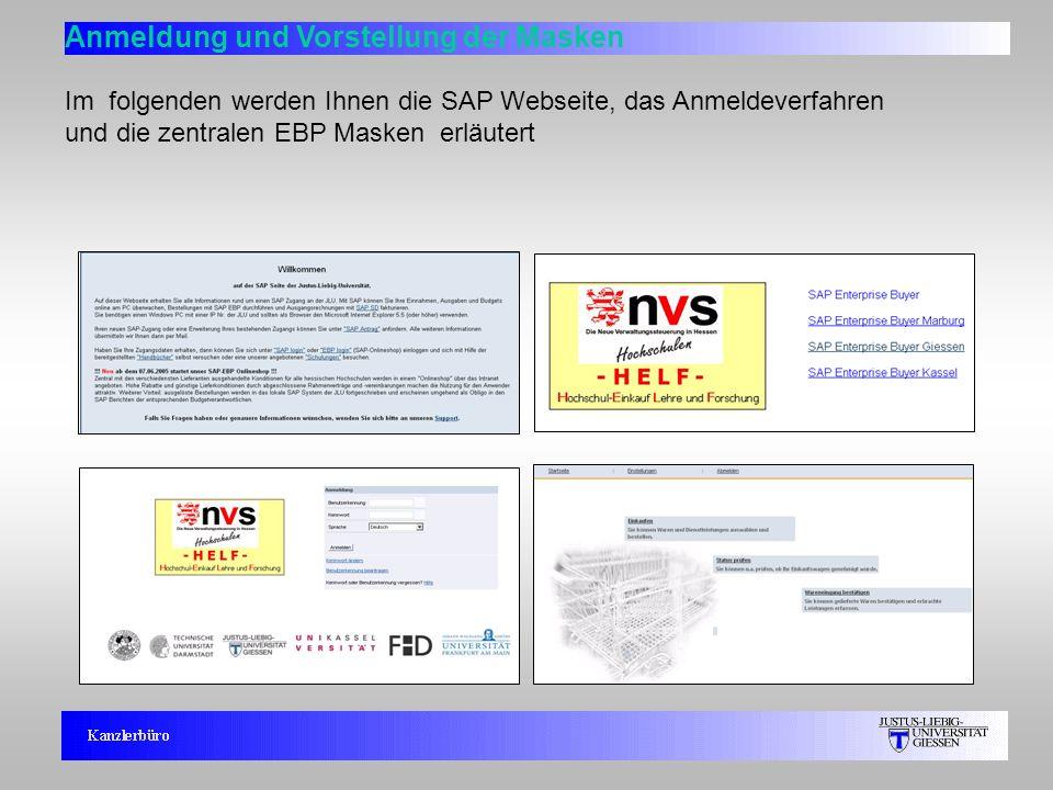 6 Anmeldung und Vorstellung der Masken Im folgenden werden Ihnen die SAP Webseite, das Anmeldeverfahren und die zentralen EBP Masken erläutert