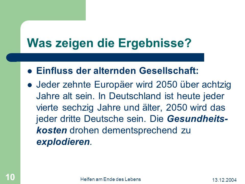 13.12.2004 Helfen am Ende des Lebens 10 Einfluss der alternden Gesellschaft: Jeder zehnte Europäer wird 2050 über achtzig Jahre alt sein.