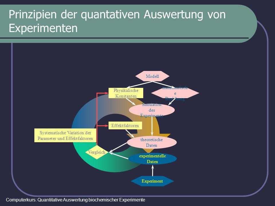 Computerkurs: Quantitative Auswertung biochemischer Experimente Prinzipien der quantativen Auswertung von Experimenten Simulation des Experiments Mode