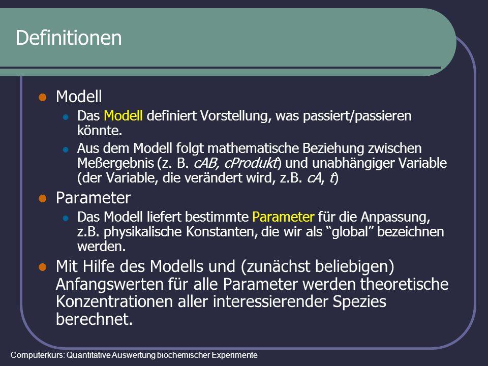 Computerkurs: Quantitative Auswertung biochemischer Experimente Definitionen Modell Das Modell definiert Vorstellung, was passiert/passieren könnte. A