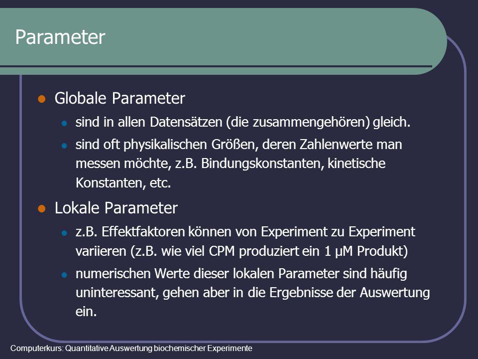Computerkurs: Quantitative Auswertung biochemischer Experimente Parameter Globale Parameter sind in allen Datensätzen (die zusammengehören) gleich. si