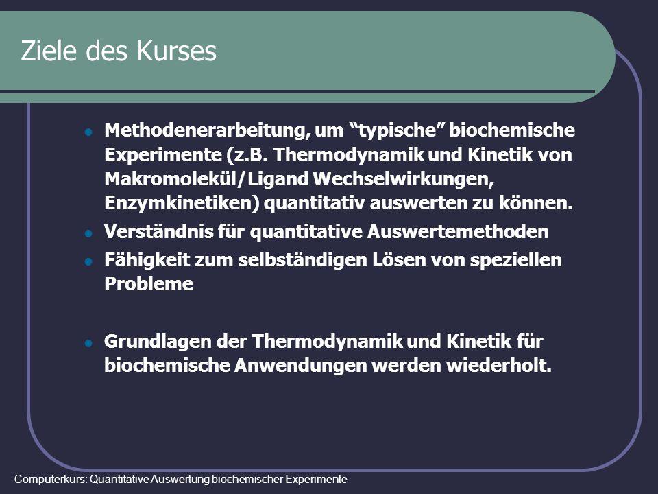 Computerkurs: Quantitative Auswertung biochemischer Experimente Ziele des Kurses Methodenerarbeitung, um typische biochemische Experimente (z.B. Therm