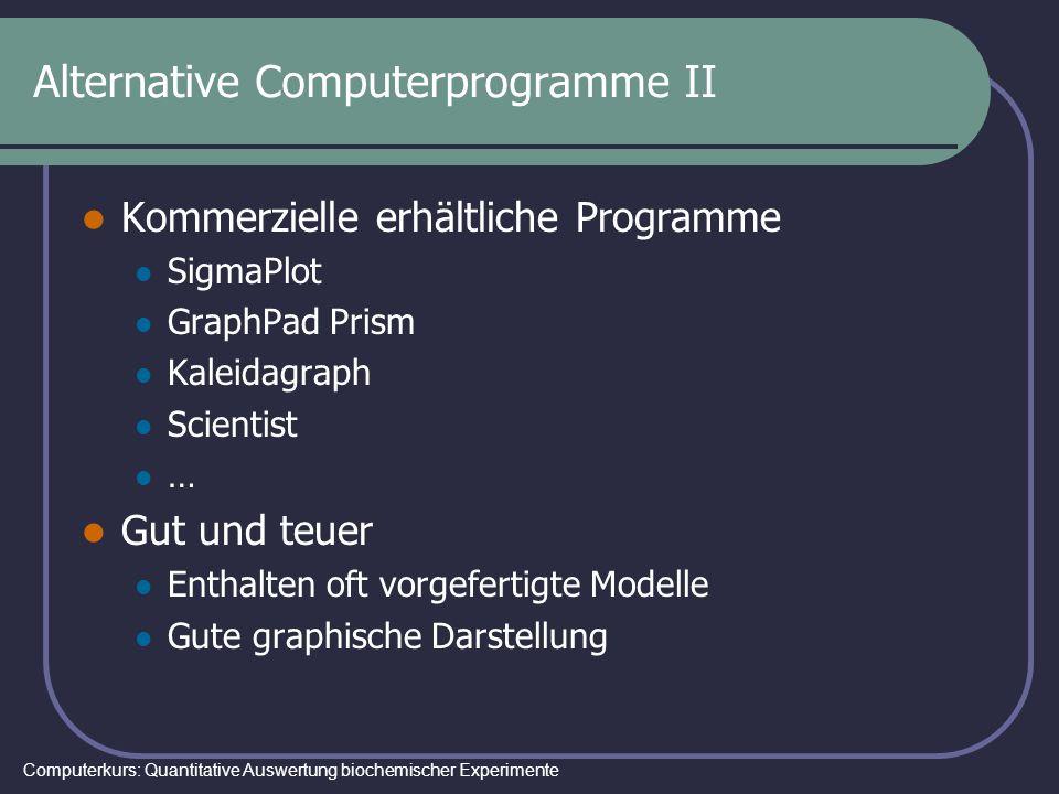 Computerkurs: Quantitative Auswertung biochemischer Experimente Alternative Computerprogramme II Kommerzielle erhältliche Programme SigmaPlot GraphPad