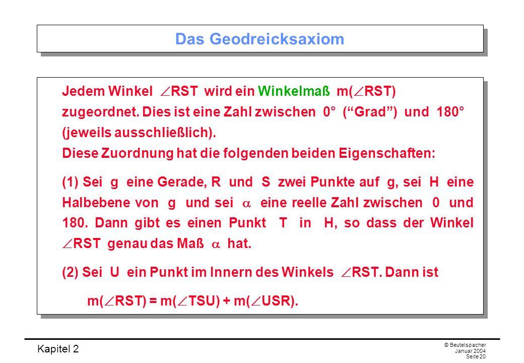 Kapitel 2 © Beutelspacher Januar 2004 Seite 20 Das Geodreicksaxiom Jedem Winkel RST wird ein Winkelmaß m( RST) zugeordnet. Dies ist eine Zahl zwischen