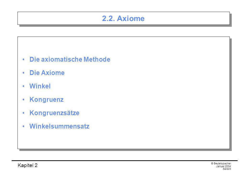 Kapitel 2 © Beutelspacher Januar 2004 Seite 6 2.2. Axiome Die axiomatische Methode Die Axiome Winkel Kongruenz Kongruenzsätze Winkelsummensatz Die axi