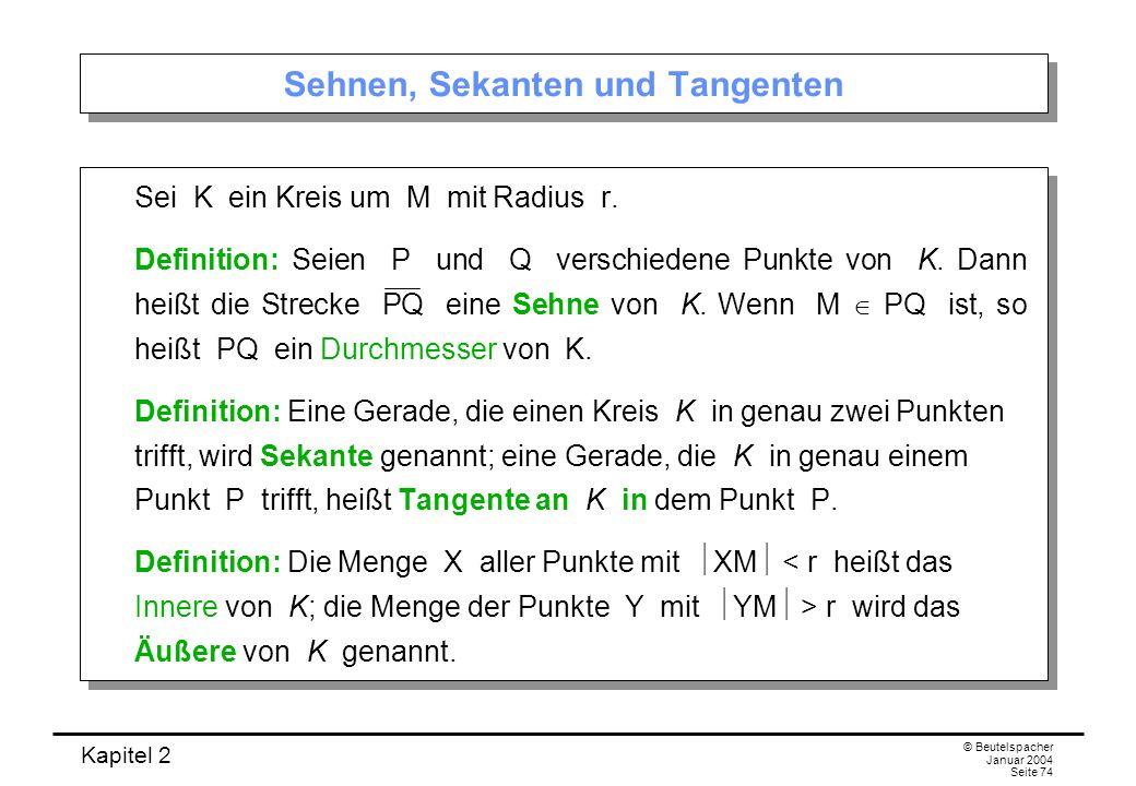 Kapitel 2 © Beutelspacher Januar 2004 Seite 74 Sehnen, Sekanten und Tangenten Sei K ein Kreis um M mit Radius r. Definition: Seien P und Q verschieden