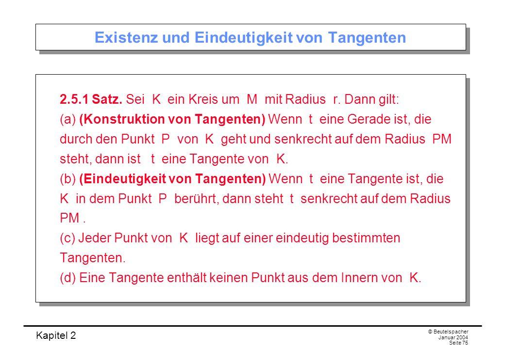 Kapitel 2 © Beutelspacher Januar 2004 Seite 75 Existenz und Eindeutigkeit von Tangenten 2.5.1 Satz. Sei K ein Kreis um M mit Radius r. Dann gilt: (a)