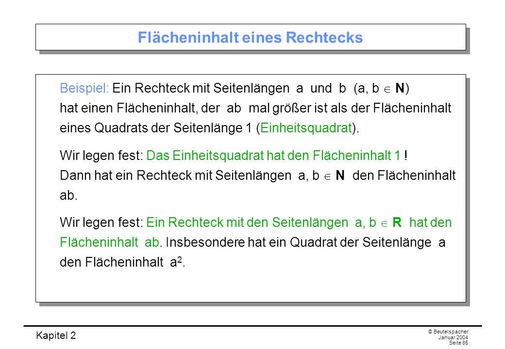 Kapitel 2 © Beutelspacher Januar 2004 Seite 85 Flächeninhalt eines Rechtecks Beispiel: Ein Rechteck mit Seitenlängen a und b (a, b N) hat einen Fläche