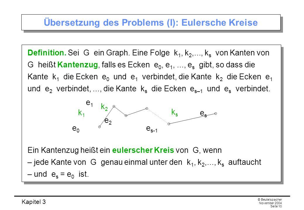 Kapitel 3 © Beutelspacher November 2004 Seite 10 Übersetzung des Problems (I): Eulersche Kreise Definition. Sei G ein Graph. Eine Folge k 1, k 2,...,